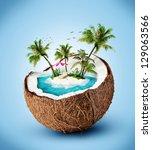 tropical island in coconut.... | Shutterstock . vector #129063566