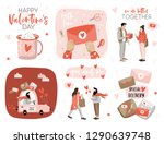 valentines day set with love... | Shutterstock .eps vector #1290639748