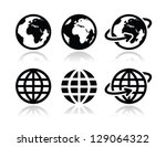 globe earth vector icons set... | Shutterstock .eps vector #129064322