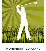 silhouette of golfer hitting...