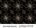 raster golden mehndi seamless... | Shutterstock . vector #1290674725