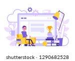 freelancer boy home office... | Shutterstock .eps vector #1290682528