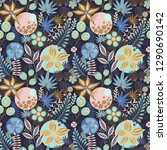 floral seamless pattern on blue.... | Shutterstock .eps vector #1290690142