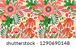 floral seamless pattern on... | Shutterstock .eps vector #1290690148