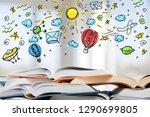 many open books lying flat... | Shutterstock . vector #1290699805