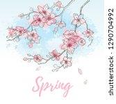 watercolor spring sakura... | Shutterstock .eps vector #1290704992