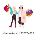 pair of happy teenage girls... | Shutterstock .eps vector #1290706252