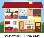 illustration of interior of a... | Shutterstock . vector #129071336