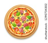 fresh pizza with tomato  cheese ... | Shutterstock .eps vector #1290734302