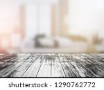 closeup top wood table with... | Shutterstock . vector #1290762772