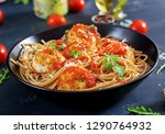 italian pasta. spaghetti with...   Shutterstock . vector #1290764932