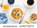 pancakes with banana  blueberry ... | Shutterstock . vector #1290772072