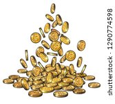 sketch of gold coins falling in ... | Shutterstock .eps vector #1290774598