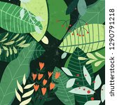 botanical tropical green leave...   Shutterstock .eps vector #1290791218