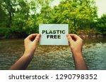 woman hands holding a paper...   Shutterstock . vector #1290798352
