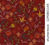 floral embroidery seamless... | Shutterstock .eps vector #1290801145
