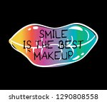 lips drawing with inspirational ... | Shutterstock .eps vector #1290808558
