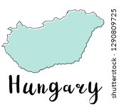 hand drawn of hungary map ...   Shutterstock .eps vector #1290809725