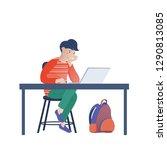 teenage boy  kid looking at...   Shutterstock .eps vector #1290813085