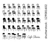 vector cafe chair collection ... | Shutterstock .eps vector #129081602