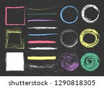 set of colorful chalk strokes ... | Shutterstock .eps vector #1290818305
