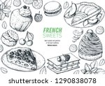 a set of  french desserts with... | Shutterstock .eps vector #1290838078