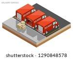 isometric delivery van. cargo... | Shutterstock .eps vector #1290848578