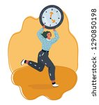 vector woman running with the... | Shutterstock .eps vector #1290850198