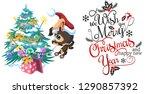 cartoon cute happy dog...   Shutterstock .eps vector #1290857392