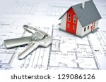 model of a house and key ring... | Shutterstock . vector #129086126