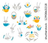 cute rabbit character and... | Shutterstock .eps vector #1290863218