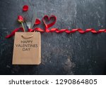 fork and knife inside a gift... | Shutterstock . vector #1290864805