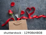 fork and knife inside a gift... | Shutterstock . vector #1290864808