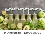 healthy green bottled smoothies ... | Shutterstock . vector #1290865732