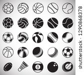 sport ball icons set on white... | Shutterstock .eps vector #1290868378