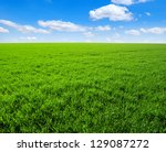 green grass field and bright... | Shutterstock . vector #129087272