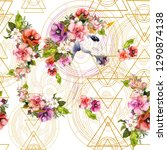 unicorn and flowers with golden ... | Shutterstock . vector #1290874138