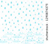 rain with water splashes. water ... | Shutterstock .eps vector #1290874375