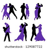 dancers isolated on white... | Shutterstock .eps vector #129087722