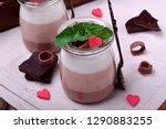 three chocolate mousse dessert...   Shutterstock . vector #1290883255