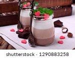 three chocolate mousse dessert...   Shutterstock . vector #1290883258