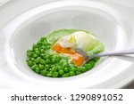 tear peas with poached egg ... | Shutterstock . vector #1290891052