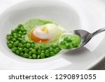 tear peas with poached egg ... | Shutterstock . vector #1290891055