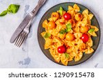 pasta with meatballs and tomato ... | Shutterstock . vector #1290915478