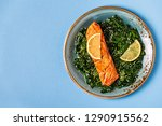 grilled salmon with spinach ... | Shutterstock . vector #1290915562
