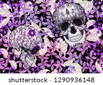 seamless pattern with human... | Shutterstock .eps vector #1290936148