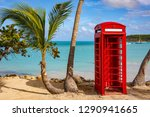 telephone booth on the beach in ... | Shutterstock . vector #1290941665