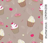 seamless pattern with cupcake | Shutterstock .eps vector #129094208