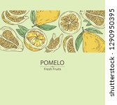background with  pomelo and... | Shutterstock .eps vector #1290950395