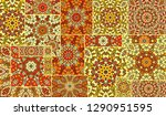 vector patchwork quilt pattern. ...   Shutterstock .eps vector #1290951595